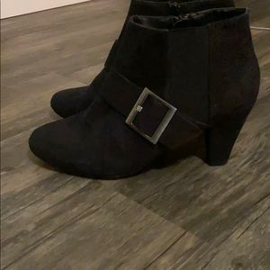 Black Ankle Booties with Buckle & Mini Heel
